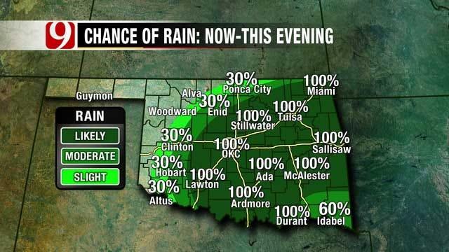 Metro Rain Chances Taper Off As Storm Moves To SE Oklahoma