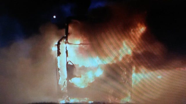 Charter Bus Goes Up In Flames On Creek Turnpike