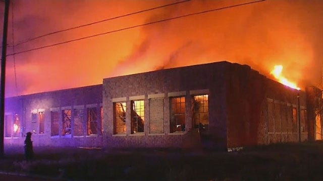 Abandoned School Building In Guthrie Catches Fire