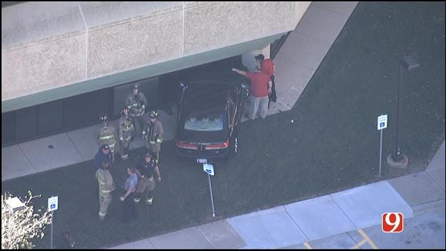 Car Crashes Into Building At Mercy Hospital Complex