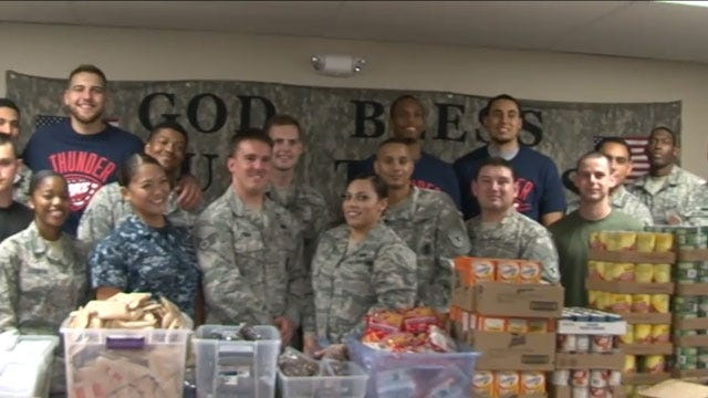 OKC Thunder, Military Members Make Care Packages For Deployed Soldiers