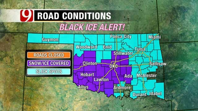 Snow Storm Brings Slick Roads, Closes Schools Across Oklahoma