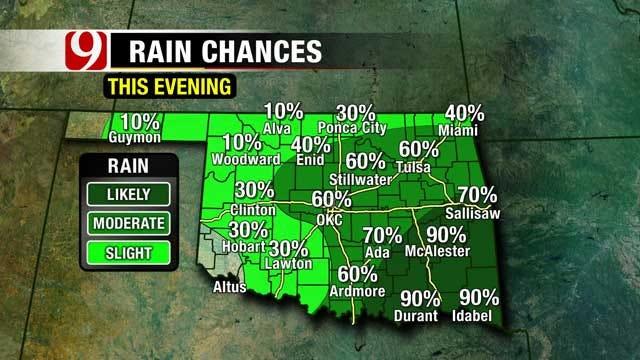 Rain Chances Vary Across Oklahoma Friday Night, Most Likely In SE OK