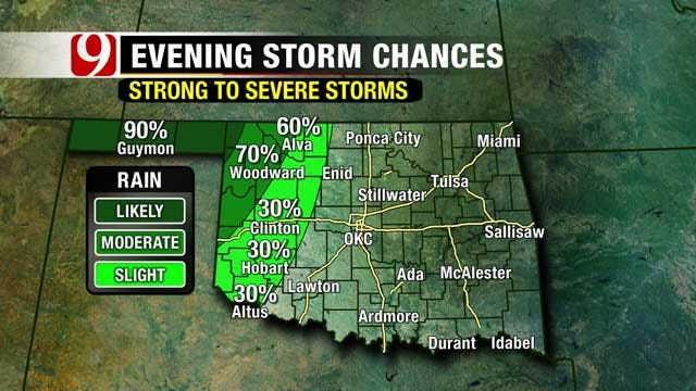 Cold Front To Bring Showers, Storms To Oklahoma Sunday Night