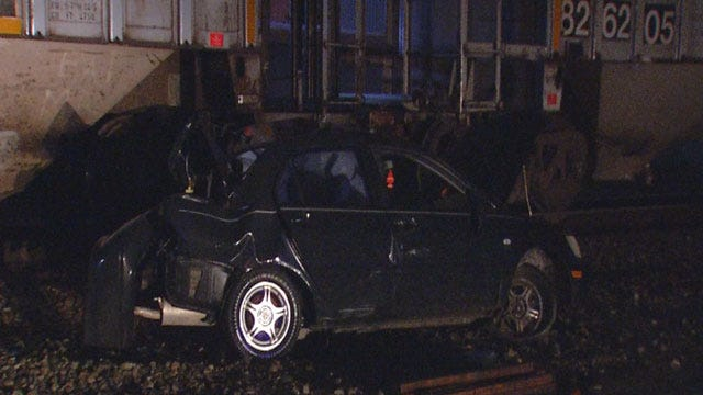No One Injured After Train Hits Stalled Car In NW OKC