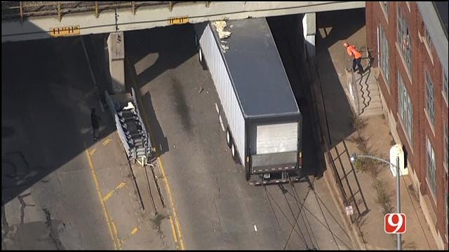 Crews Free Semi Stuck Under Bridge In Downtown OKC