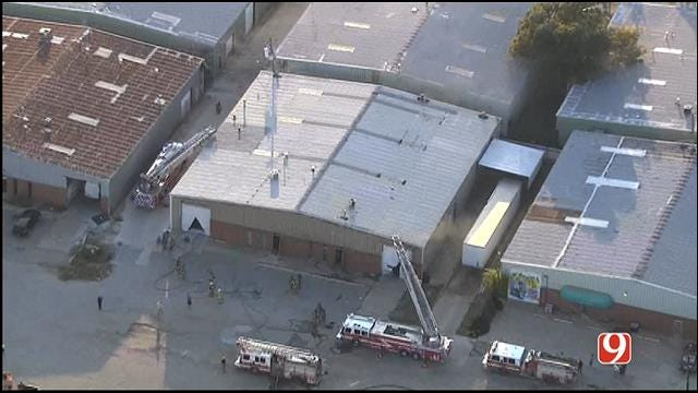 Firefighters Battle Blaze At OKC Paper Shredding Business
