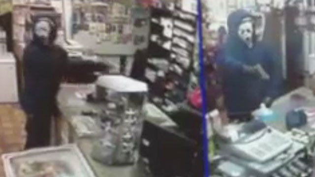 Serial Robbery Suspect Uses 'Scream' Mask During Crime