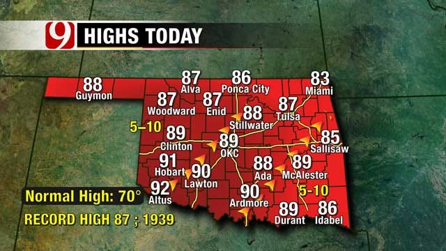 Record Highs Under Sunny Skies Saturday Afternoon