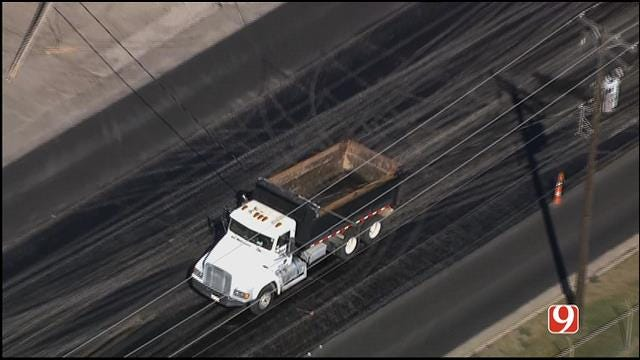 Dump Truck Gets Tangled In Power Lines In OKC