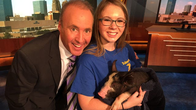 Pucker Up Part Two! David Payne Kisses Pig For 'Food For Kids'