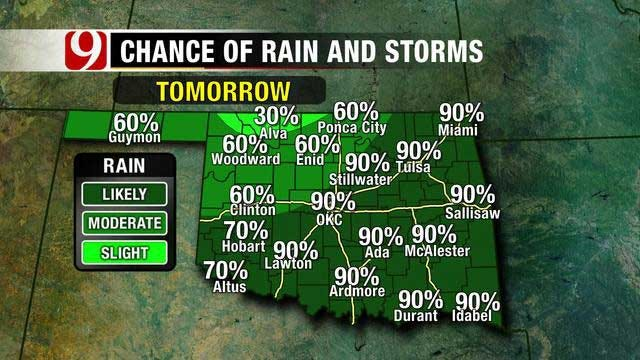 Rain, Cooler Temperatures On The Way For Oklahoma