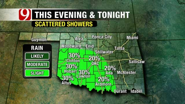 Chance For Showers, Isolated Storms In Western Oklahoma Sunday
