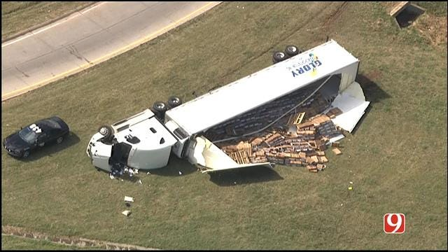 Crews Respond To Semi Rollover On WB I-240 At EB I-44 Entrance