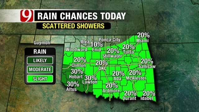 Slight Chance For Scattered Showers Saturday Afternoon