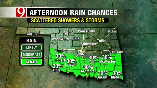 Cold Front Shifts Rain Chances To Southern Oklahoma Sunday