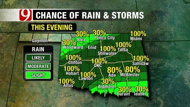 Scattered Showers Likely Again Tuesday In Oklahoma