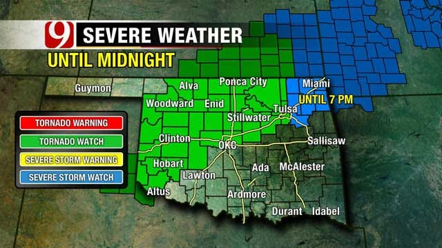 Severe Storms, Threatening Possible Tornadoes Throughout Oklahoma