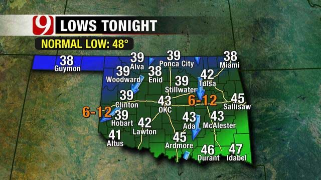 Cold Front Moves In Bringing Cooler Temperatures Overnight Thursday