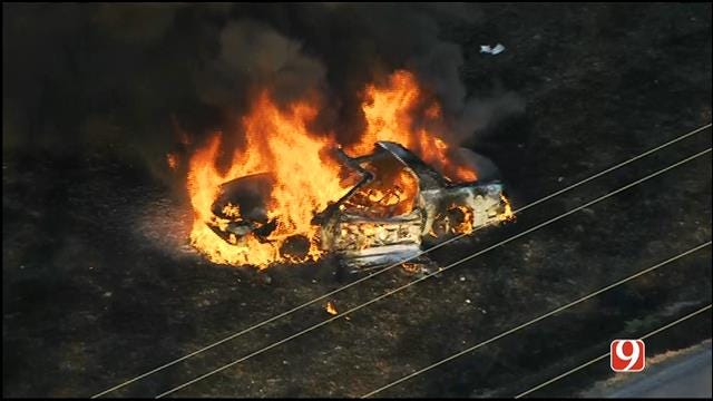 Vehicle Erupts Into Flames On News 9 Lawn