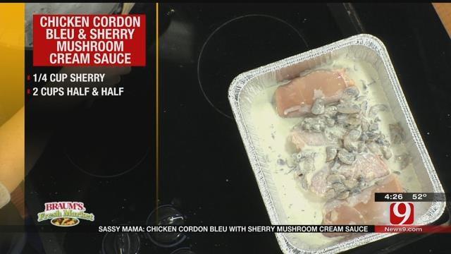 Chicken Cordon Bleu with Sherry Mushroom Cream Sauce