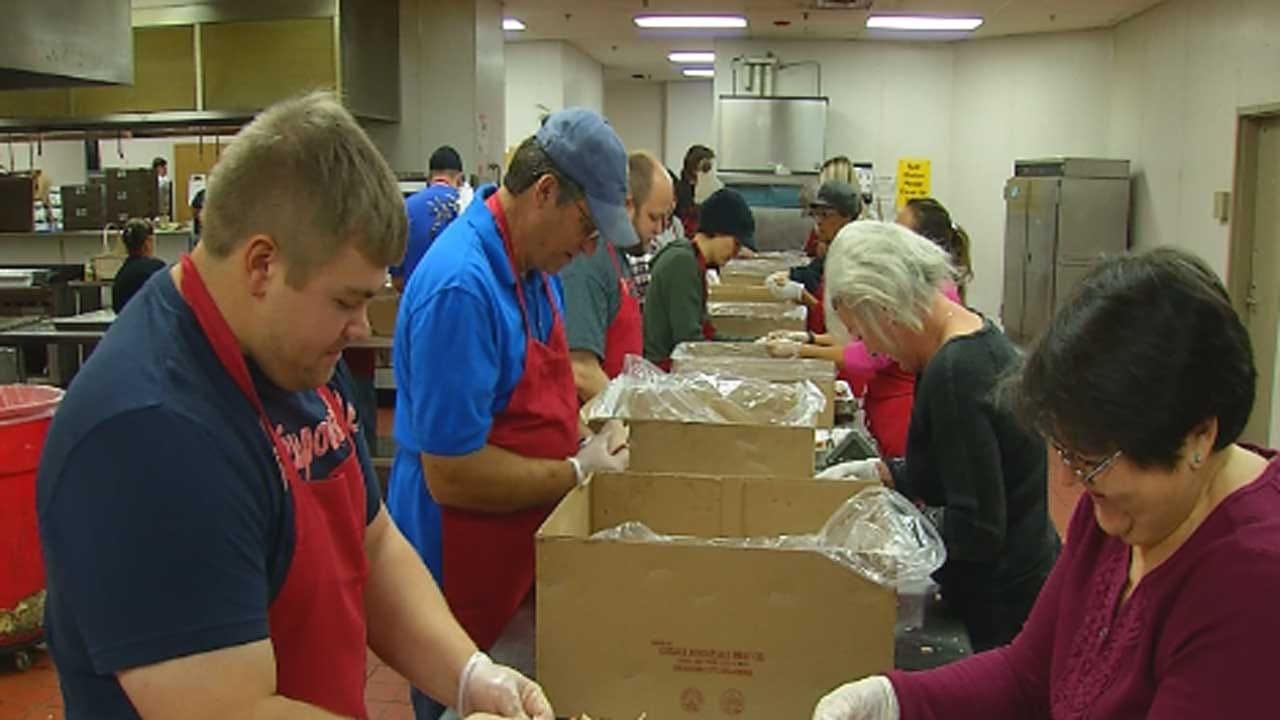 Volunteers Prepare For OKC's Red Andrews Christmas Dinner