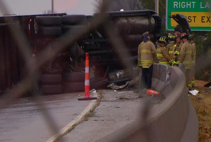 Hazardous Materials Unit Dispatched For Tipped Semi On I-44