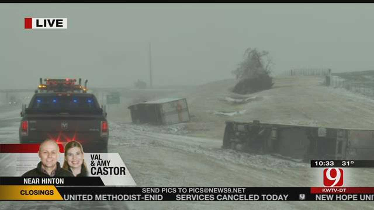 Winter, Severe Weather Causes Flooding And Road Closures In OK