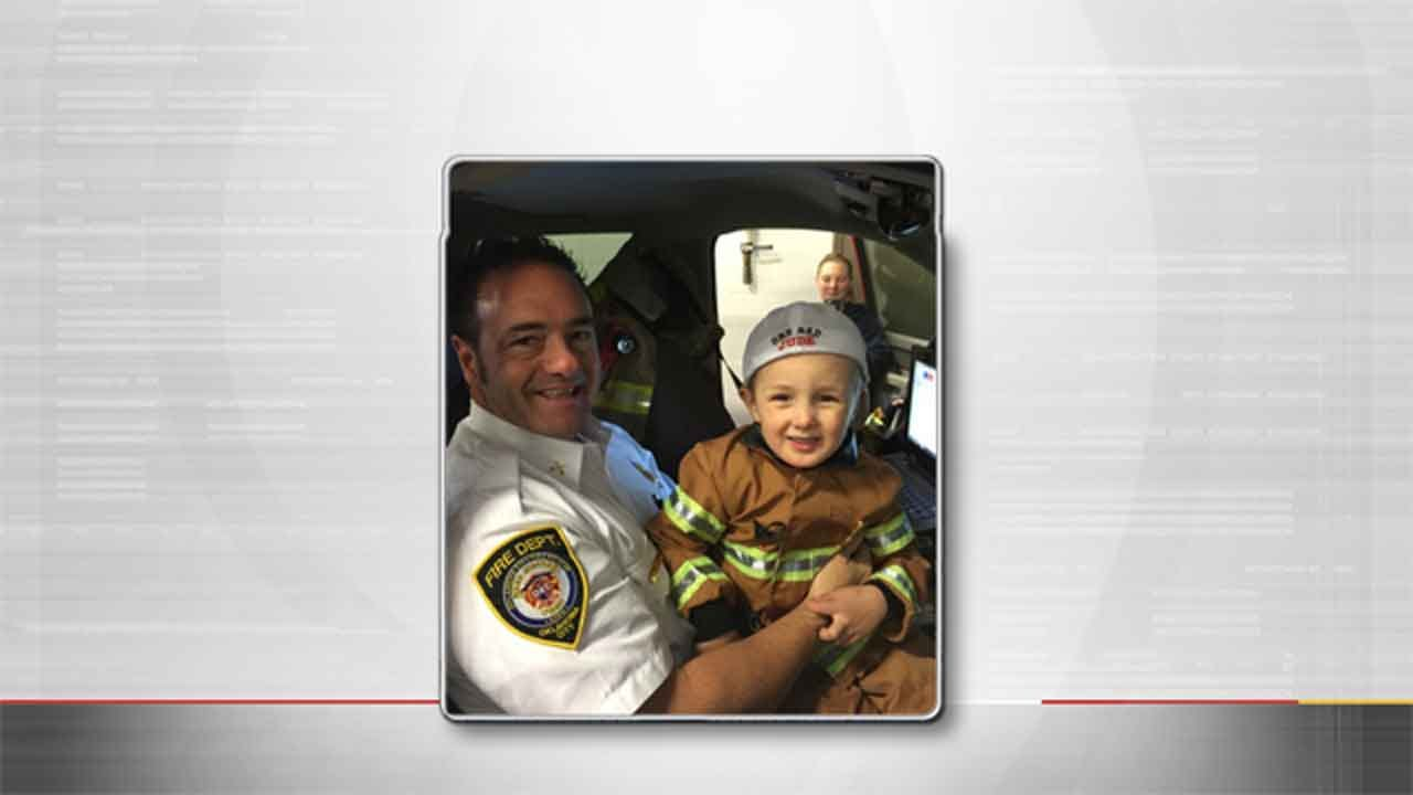 Young Boy Battling Cancer Gets Hands-On Visit To OKC Fire Station
