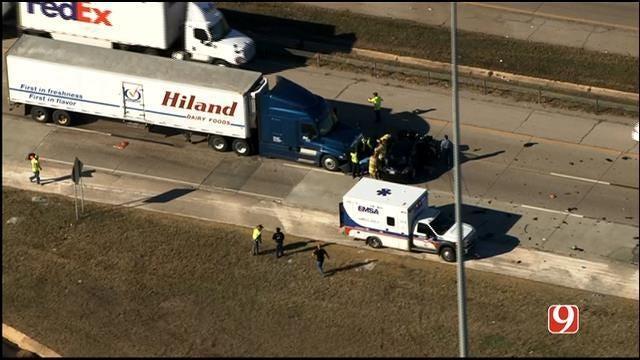 One Injured In Crash Involving Semi, Car Near Frontier City