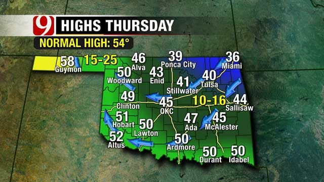 Cold Front Arrives In Oklahoma Wednesday