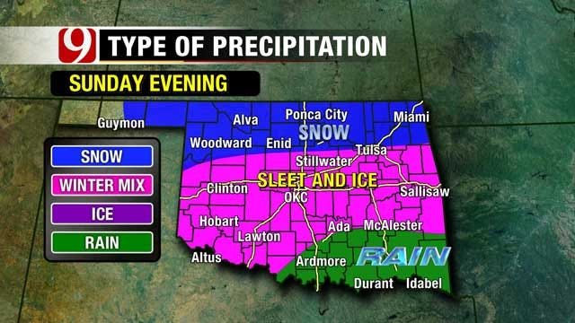 Temperatures To Come Crashing Down Sunday In Oklahoma