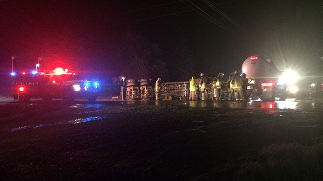 Tanker Truck Rolls On Rural Edmond Road