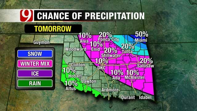 Slush Refreezes Overnight, Weak Cold Front Arrives Tuesday In Oklahoma
