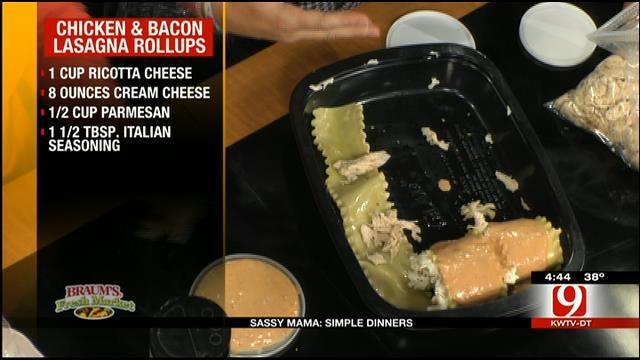 Chicken and Bacon Lasagna Rollups