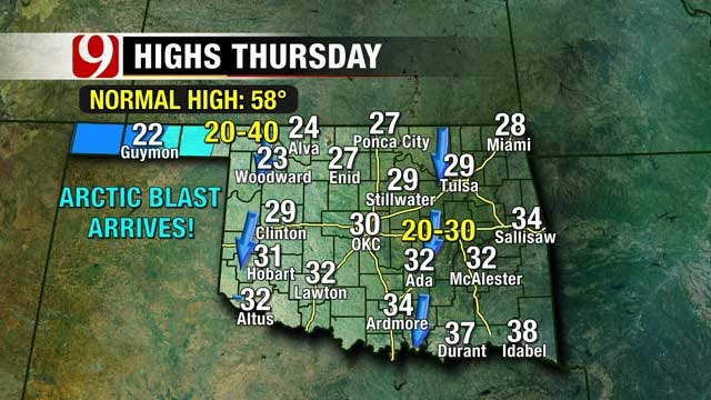 Temperatures Drop To Mid-20's Overnight In Oklahoma