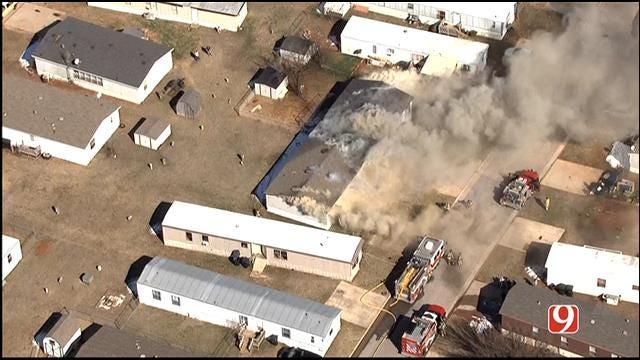Crews Battle Fire At Yukon Mobile Home Park