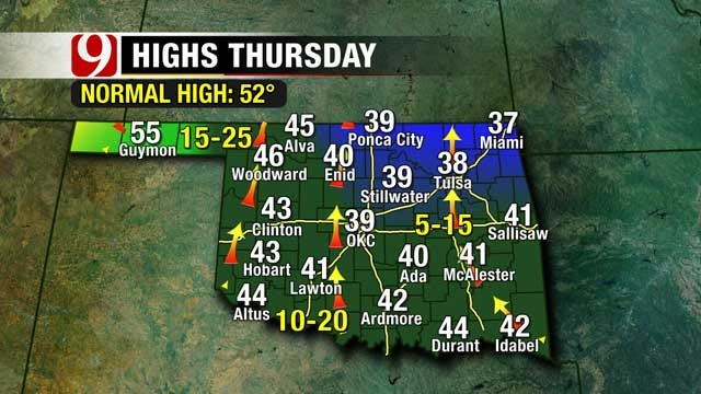 Chilly Temperatures And Gusty Winds Expected In Oklahoma