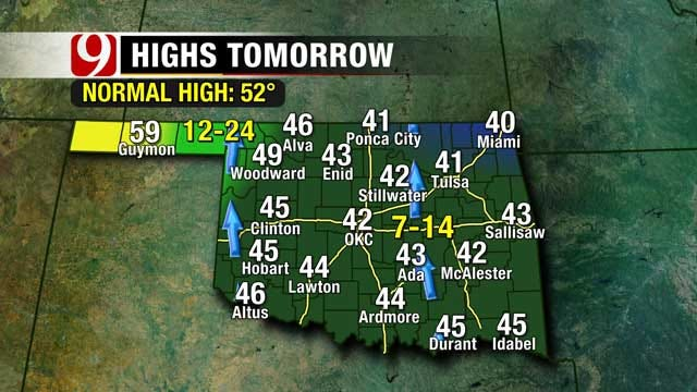 Strong Cold Front Sweeps Through Oklahoma, Brings Possible Freezing Drizzle