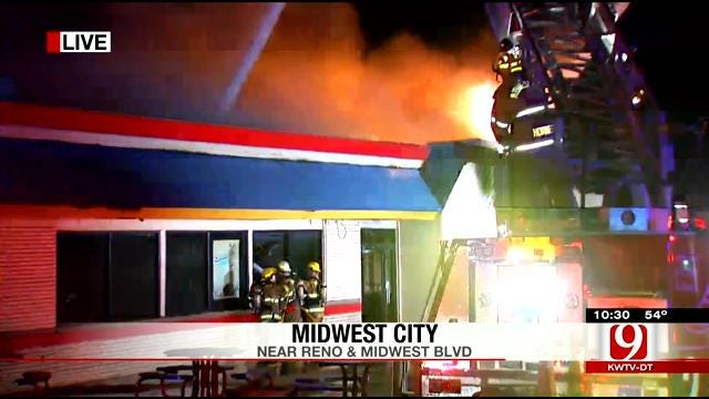 Fire Crews Fight Flames At Midwest City Burger King