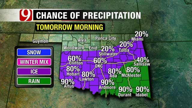 Winter Weather Storm Moving Into Oklahoma
