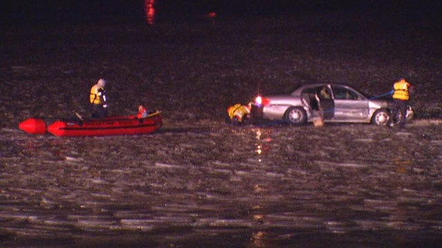 Driver Rescued, Arrested For DUI After Becoming Trapped On Ice At Lake Overholser