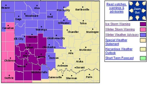 Ice Storm Warning Canceled For Central Oklahoma