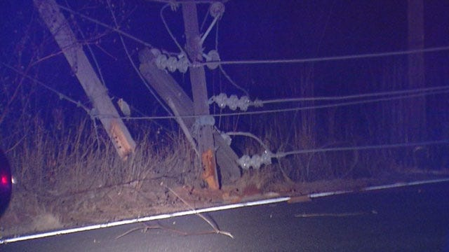 OKC Officer Not Injured After Crashing Into Power Pole