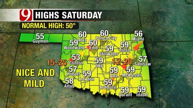 Cold, Wet Weather Moving Out Of OK, Warm, Dry Air Moving In
