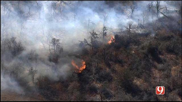 Fire Crews Battle Wellston Grass Fire