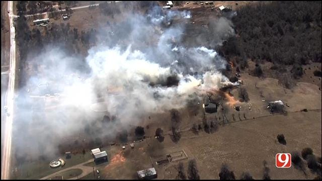 Fire Crews Battle Grass Fire South Of Luther