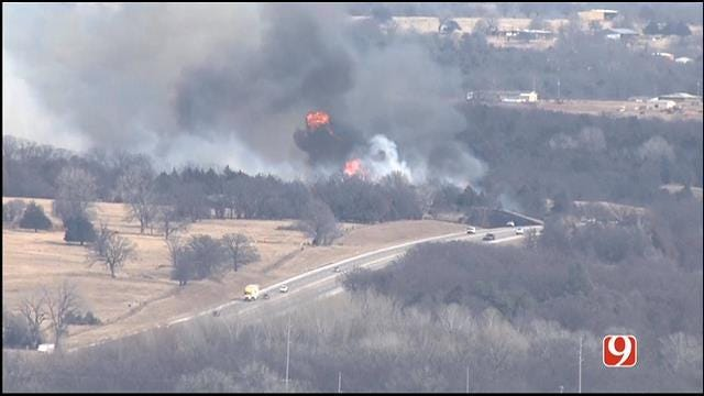 Crews Battle Grass Fires In Central Oklahoma