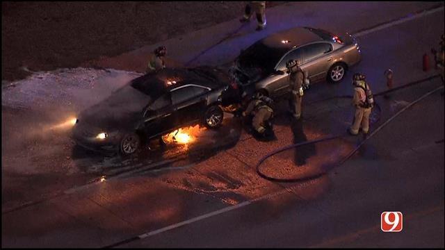 Fiery Crash Shuts Down Broadway Ext. At Hefner Rd.