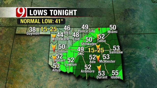 Cloudy Skies, But Temperatures to Remain Warm Throughout Oklahoma